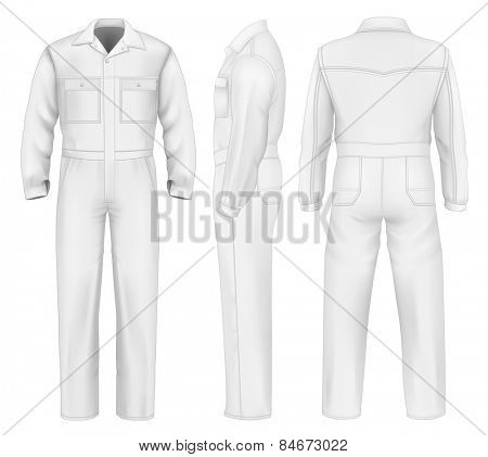 Men's overalls design templates (front, back, side views).  vector illustration.