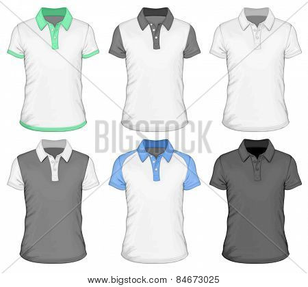 Men's different color short sleeve polo-shirt. Vector illustration.