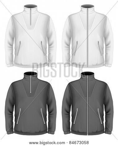 Men's fleece sweater design templates (black and white). Vector illustration