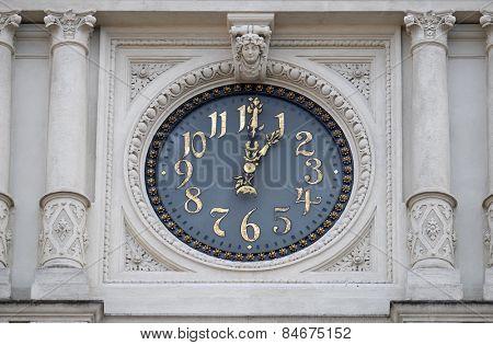 GRAZ, AUSTRIA - JANUARY 10, 2015: Clock at facade, detail Rathaus Town Hall, Graz, Styria, Austria on January 10, 2015.