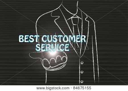 Business Man Handing Out The Word Best Customer Service