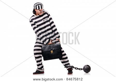 Funny prisoner with briefcase and shackles isolated on white