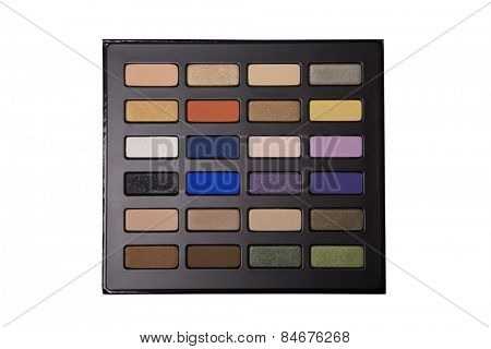 Eyeshadow palette, top view isolated on white background