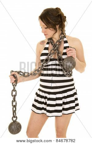 Pregnant Woman In A Prision Skirt With Chain Look Down Side