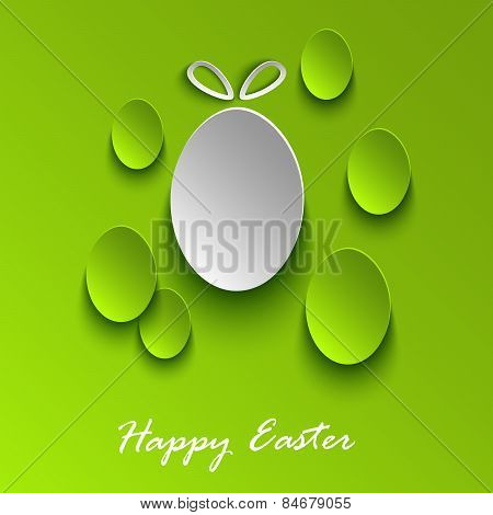 Easter Greeting Card With Abstract Green Eggs