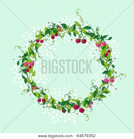 Sweet Cherry Wreath Cute Illustration