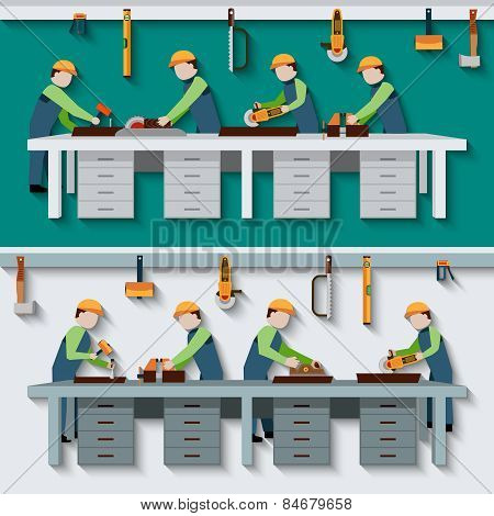 Carpentry Workshop Illustration