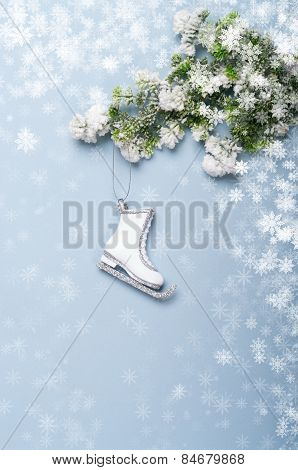 Christmas background with christmas decorations skates