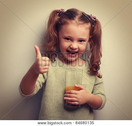Happy Laughing Kid Girl Drinking Juice And Showing Good Sign. Vintage
