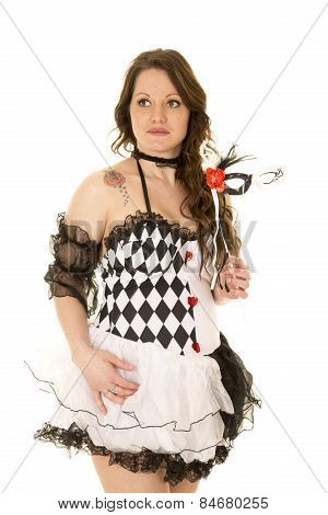 Woman In A Black And White Costume Close Look Side