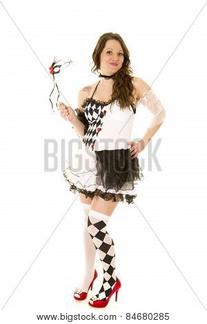 Woman In A Black And White Costume Full Body Look