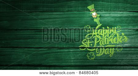 patricks day greeting against overhead of wooden planks