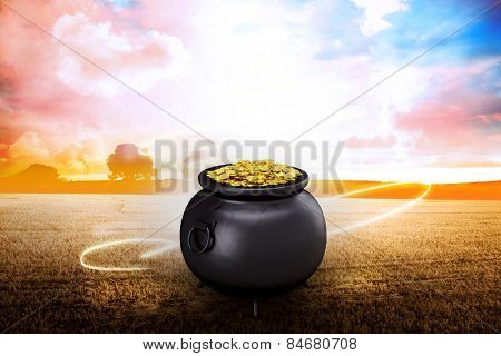 pot of gold against field with light wave