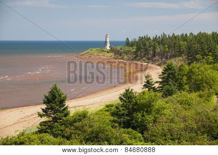 Atlantic beach coast with Cape Jourimain lighthouse, New Brunswick, Canada