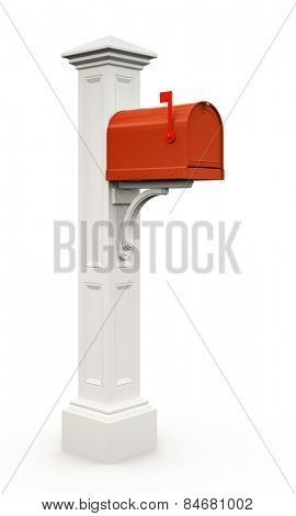 Retro red mailbox isolated on white background 3D