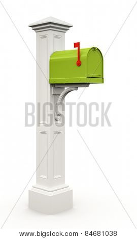 Retro green mailbox isolated on white background 3D