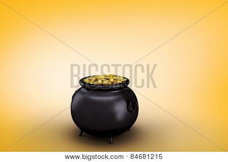 pot of gold against orange vignette