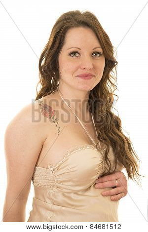 Woman In Nightgown Up Close With A Rose Tattoo On Her Shoulder