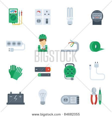 Electricity Icon Flat Set