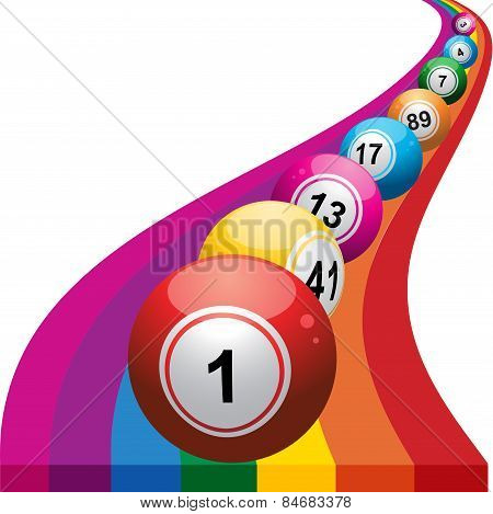 Bingo Balls On Rainbow Background