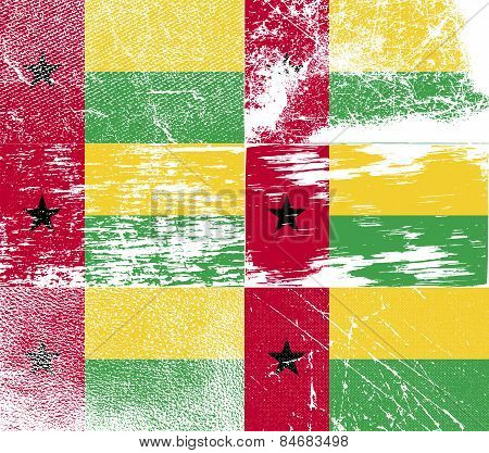 Flag Of Guinea-bissau With Old Texture. Vector