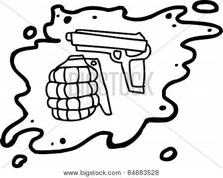 Weapons In Splatter Outline