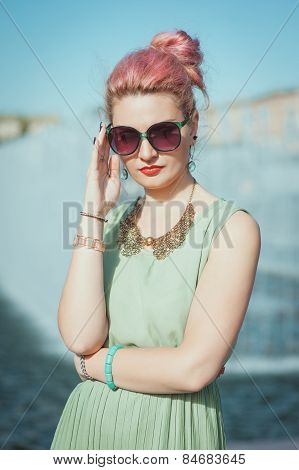 Beautiful Young Hipster Woman With Pink Hair In Vintage Clothing