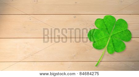 four leaf clover against bleached wooden planks background
