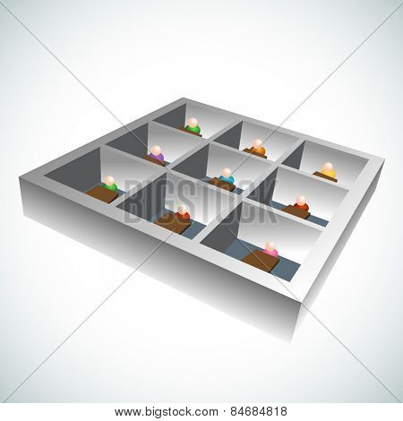 An image of 3d office cubicles