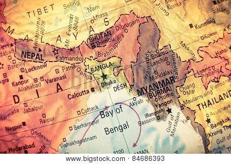 Vintage map myanmarbangladesh close up macro image of south east vintage map myanmarbangladesh close up macro image of south east asia map gumiabroncs Gallery