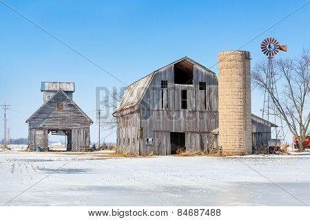 Snowy Farm Scene