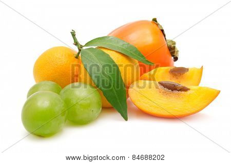 collection fruit isolated on white