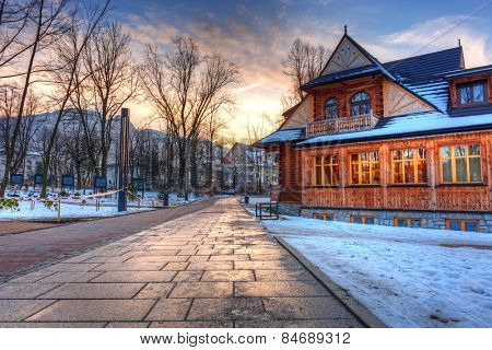Sunset in the park of Zakopane at winter time, Poland
