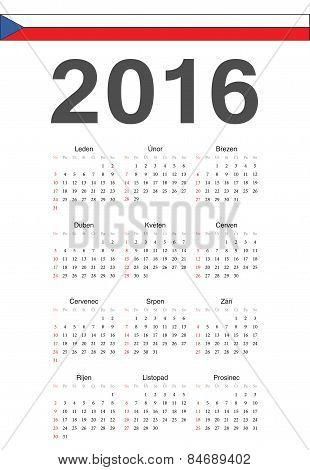 Czech 2016 Year Vector Calendar