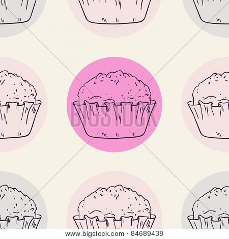 Stylized Muffins Seamless Pattern With Circle