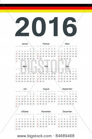 German 2016 Year Vector Calendar