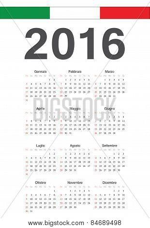 Italian 2016 Year Vector Calendar