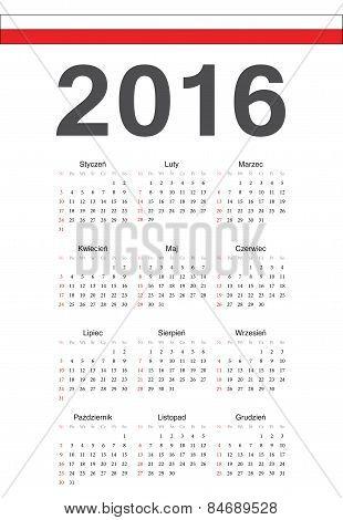 Polish 2016 Year Vector Calendar