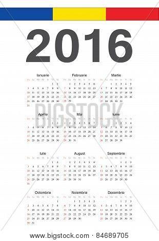Romanian 2016 Year Vector Calendar