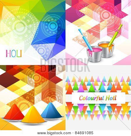 vector styllish set of holi background with colors