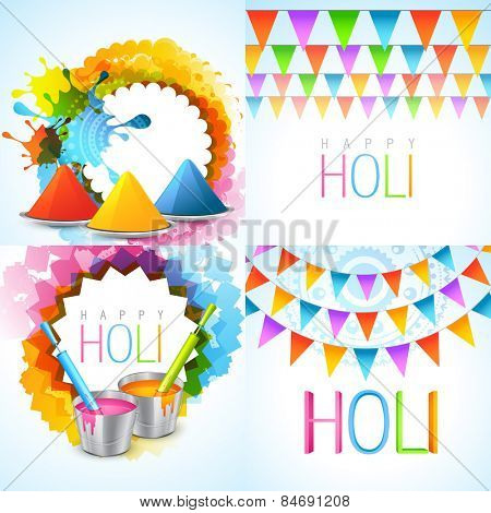 vector bunch of holi background illustration with different colors