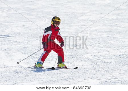 Little Girl Skiing Downhil