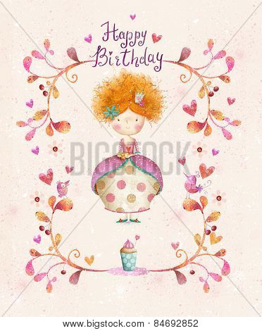 Happy birthday card in cartoon style. Cute small princess with cup of tea in flowers, hearts, birds.