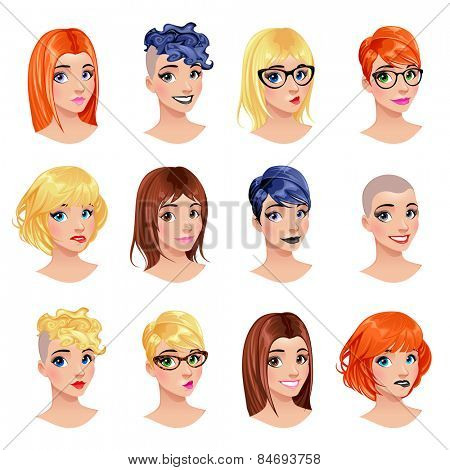 Fashion female avatars. hairstyles, eyes and mouths are interchangeable. Vector file, isolated objects.