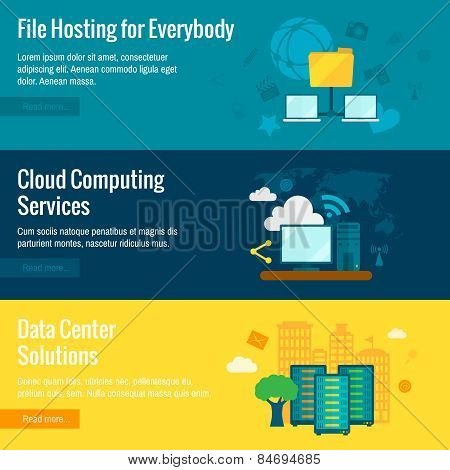 File hosting flat banners set