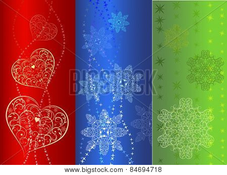 Colorful  vertical banner design in three variants.