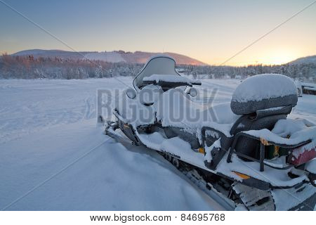 Snowmobile Parked In Levi, Finland