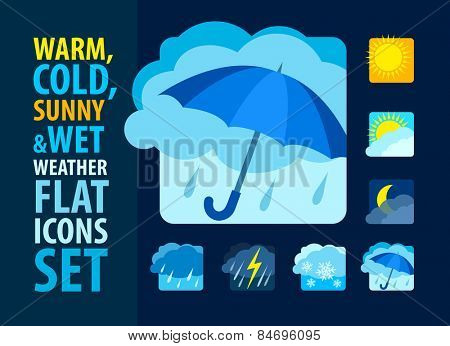 Weather icons set flat. Eps10 vector illustration