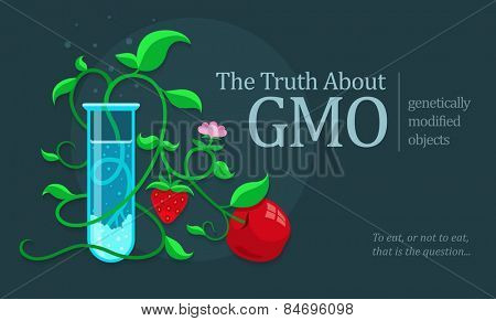GMO genetically modified fruits growing in test tube. Eps10 vector illustration