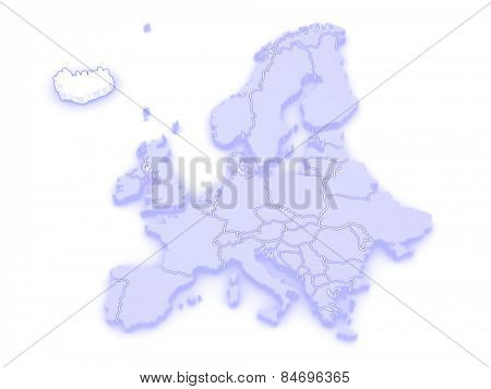 Map of Europe and Iceland. 3d